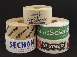 Group of custom printed paper tape