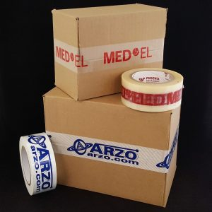 boxes sealed with branded packing tape